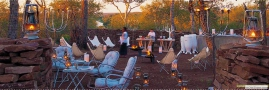 Outdoor dining boma at Singita Lebombo Lodge